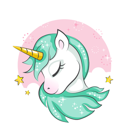 Cute magical unicorn. Vector design isolated on white background. Print for t-shirt or sticker. Romantic hand drawing illustration for children. Stock Illustratie