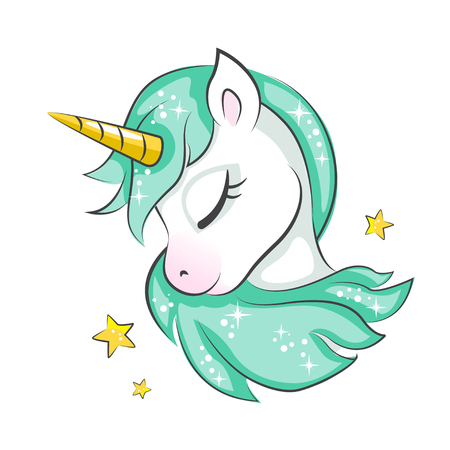 Cute magical unicorn. Vector design isolated on white background. Print for t-shirt or sticker. Romantic hand drawing illustration for children. Illustration