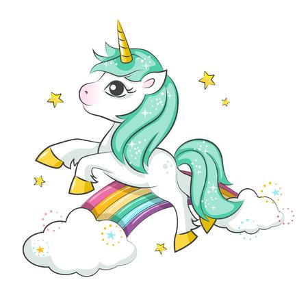 Carino unicorno magico e arcobaleno ... Disegno vettoriale isolato su sfondo bianco. Stampa per t-shirt o adesivo. Illustrazione di disegno a mano romantico per i bambini.