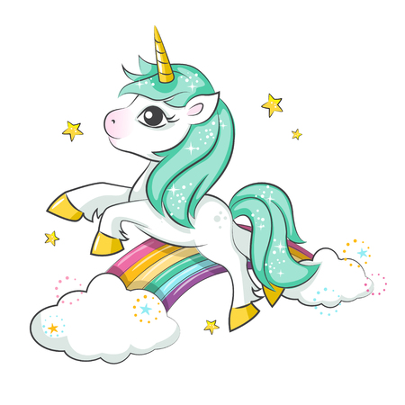Cute magical unicorn and rainbow .. Vector design isolated on white background. Print for t-shirt or sticker. Romantic hand drawing illustration for children.