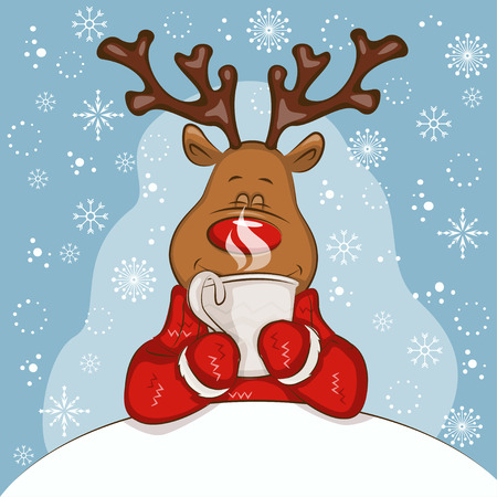 Christmas card with cartoon deer. Its held a mug of hot tea in his hands. Vector for you design. Transparency is not used.