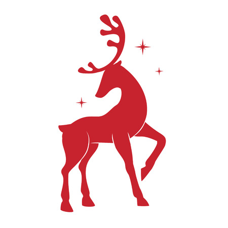 Silhouette of Christmas deer. Illustration with silhouette of a red reindeer isolated on white background. Vector design with Christmas deer. Ilustração