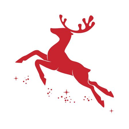 Silhouette of Christmas deer. Illustration with silhouette of a red reindeer isolated on white background. Vector design with Christmas deer. Vettoriali