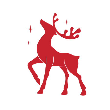 Silhouette of Christmas deer. Illustration with silhouette of a red reindeer isolated on white background. Vector design with Christmas deer.  イラスト・ベクター素材