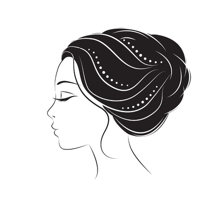 Profile face young woman. Silhouette .Design elements for barber shop.