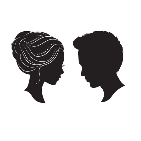 Silhouettes of beautiful couple. They are looking at each other eyes.
