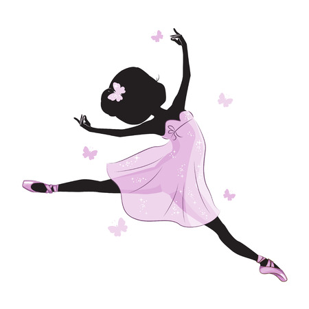 Silhouette of cute little ballerina in pink dress isolated on white background. Vector design. Print for t-shirt. Romantic hand drawing illustration for children. Vettoriali