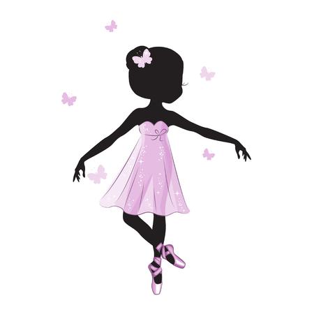 Silhouet van schattige kleine ballerina in roze jurk geïsoleerd op een witte achtergrond. Vector ontwerp. Afdrukken voor t-shirt. Romantische hand tekening illustratie voor kinderen.