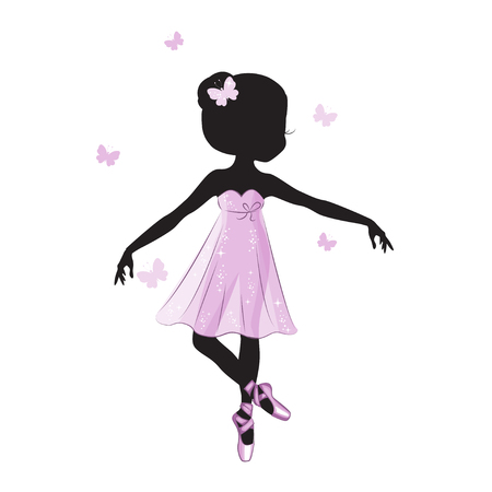 Silhouette of cute little ballerina in pink dress isolated on white background. Vector design. Print for t-shirt. Romantic hand drawing illustration for children. Vectores