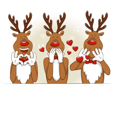 Illustration with cartoon Christmas deer. Its greet you and congratulate you on Christmas. Vector for you design.