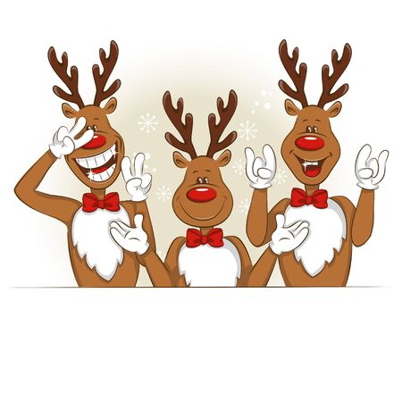 Illustration with cartoon Christmas deer. It's greet you and congratulate you on Christmas. Vector for you design.