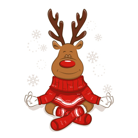 A cute Christmas reindeer is engaged in yoga. Meditates. Lotus pose Its wearing a warm knitted sweater and socks with ornament. Isolated. Vector for your design.