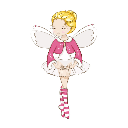 Beautiful little fairy. She's blonde. Princess dancing in a ballerina costume. She is wearing socks with a Christmas pattern and a red cloak trimmed with fur. Vector isolated on white background.