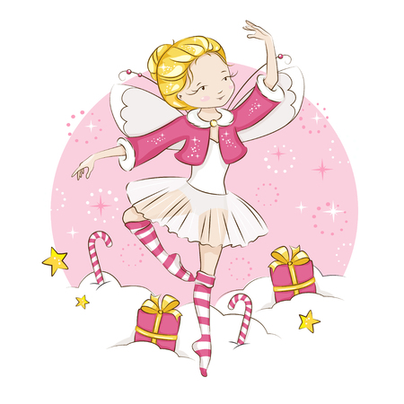 Beautiful blonde little fairy dancing in a ballerina costume, wearing socks with a Christmas pattern and a red cloak trimmed with fur. Vector on white background. Illustration