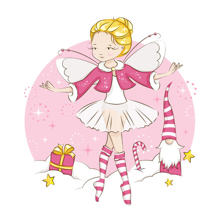 Beautiful blonde little fairy dancing in a ballerina costume, wearing socks with a Christmas pattern and a red cloak trimmed with fur. Vector on white background. 矢量图像