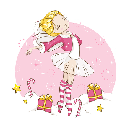 Beautiful blonde little fairy dancing in a ballerina costume, wearing socks with a Christmas pattern and a red cloak trimmed with fur. Vector on white background. Ilustração