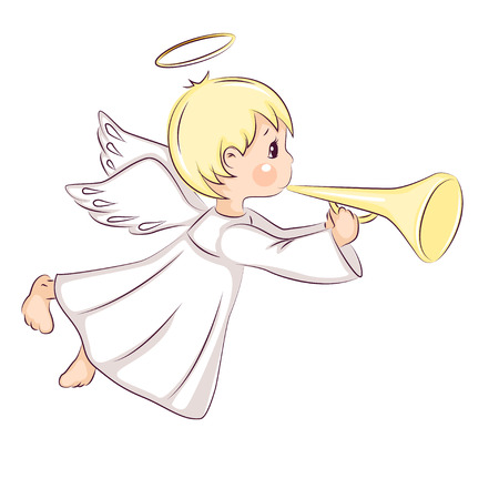 Cute little Christmas angel. He flies and holds in his hands musical instrument. Vector isolated on white background. Stock Illustratie