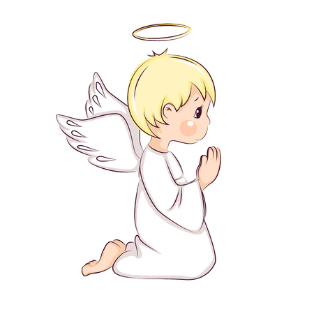 Cute little Christmas angel vector illustration Illustration