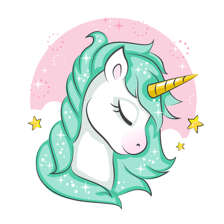 Cute magical unicorn. Vector design isolated on white background. Print for t-shirt or sticker. Romantic hand drawing illustration for children. Vettoriali