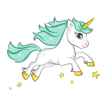 Cute magical unicorn. Vector design isolated on white background. Print for t-shirt or sticker. Romantic hand drawing illustration for children. Ilustrace