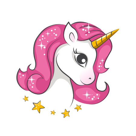 Cute little pink magical unicorn. Vector design on white background. Illustration
