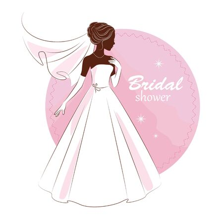 Bridal shower invitation. Young beautiful bride is in an elegant wedding dress.