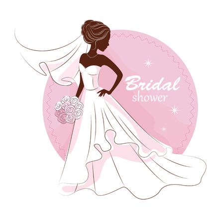 Bridal shower invitation. Young beautiful bride is in an elegant wedding dress vector illustration for your design. Invitation, greeting card, template for the bride show.