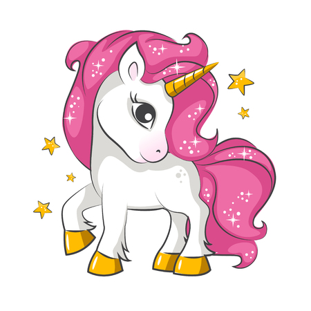 Pequeño diseño rosado lindo del vector del unicornio mágico en el fondo blanco. Imprimir para camiseta. Romántico dibujo a mano ilustración para niños. Ilustración de vector