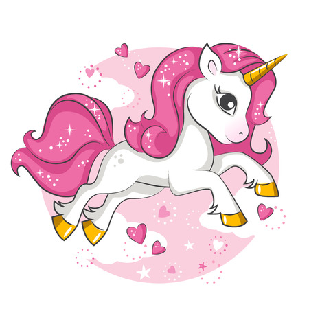 Cute little pink magical unicorn vector design on white background. Print for t-shirt romantic hand drawing illustration for children.