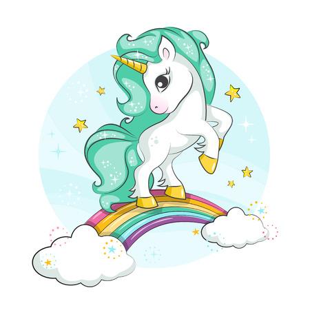 Lindo unicornio mágico Pequeño pony. Lindo unicornio mágico y arco iris. Diseño vectorial aislado sobre fondo blanco. Imprimir para camiseta o pegatina. Romántico dibujo a mano ilustración para niños.