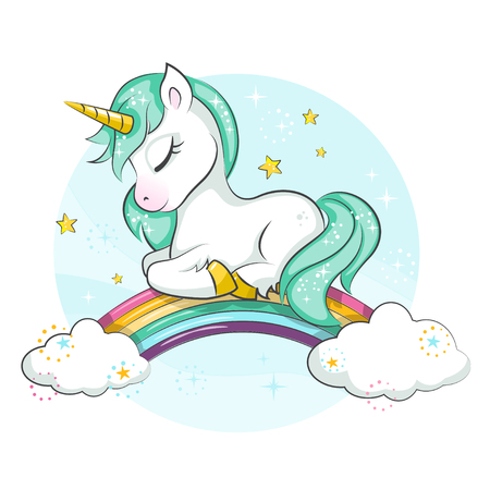 Cute magical unicorn. Little pony. Cute magical unicorn and rainbow. Vector design isolated on white background. Print for t-shirt or sticker. Romantic hand drawing illustration for children.  イラスト・ベクター素材