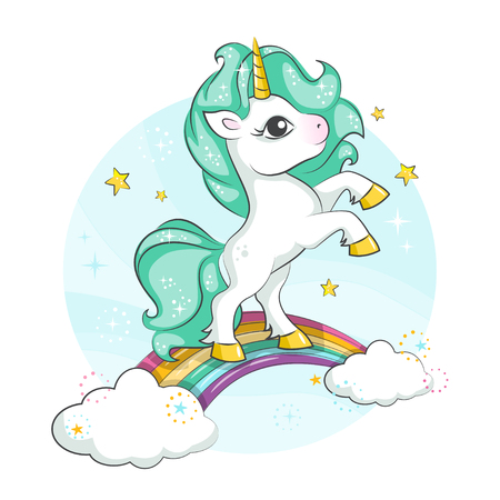 Cute magical unicorn. Little pony. Cute magical unicorn and rainbow. Vector design isolated on white background. Print for t-shirt or sticker. Romantic hand drawing illustration for children. Ilustração