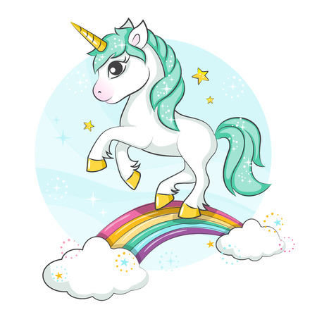 Cute magical unicorn. Little pony. Cute magical unicorn and rainbow. Vector design isolated on white background. Print for t-shirt or sticker. Romantic hand drawing illustration for children. Vettoriali