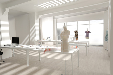 clothing store: a setup of modern tailor working studio