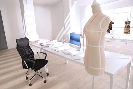 clothing store: designer leave her working tailor studio