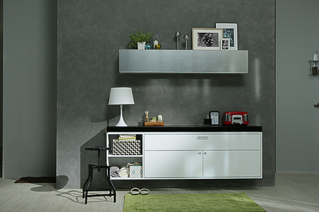 the white sideboard are decorated with some stuff