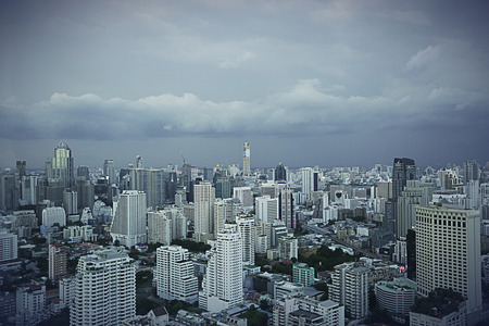a cloudy day in center of Bangkok before change to a rainy day Stock Photo