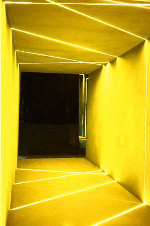 a modern design doorway decorated with lines of LED light was setup in studio