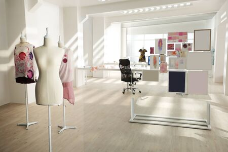 in a designer modern workshop studio have some dresses are finished 免版税图像