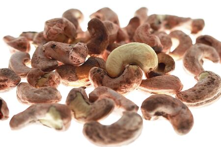 pile of cashew nuts on a white background for shooting in studio