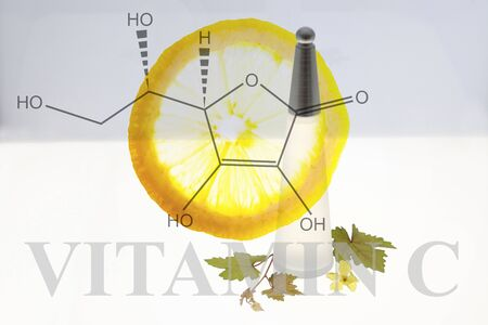 a modern triangle bottle with a slide of lemon and vitamin C molecular science symbol