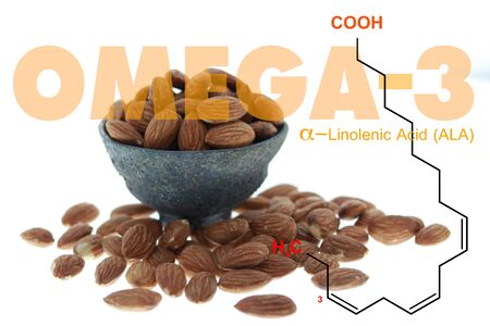 Almonds in the bowl double exposed with omega 3 ALA science structure on white 스톡 콘텐츠