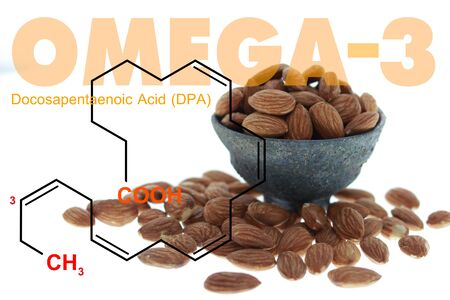 Almonds in the bowl double exposed with omega 3 DPA science structure on white