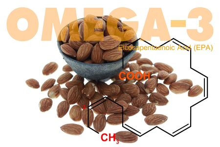 Almonds in the bowl double exposed with omega 3 EPA science structure on white