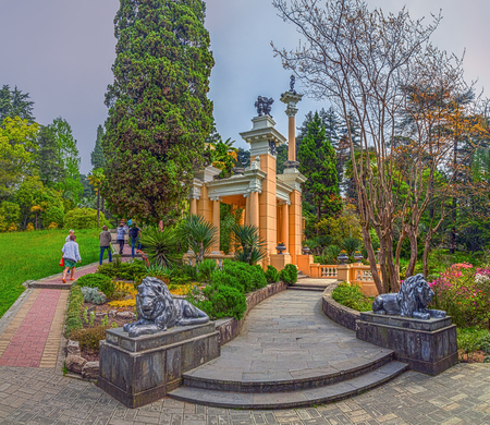 RUSSIA, SOCHI, MAY 1, 2015: Sculptures Lions at the Moorish arbor, Sochi Arboretum, Russia, on May 1, 2015.
