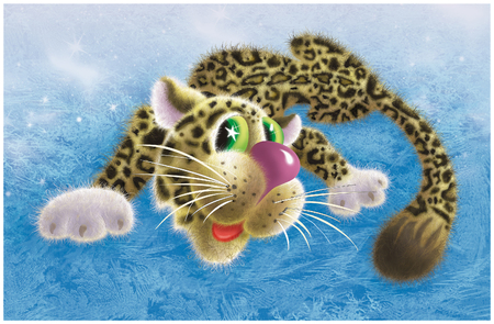 Graceful snow leopard lies on ice (I myself drew in the computer with an ordinary mouse)
