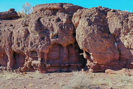 Unusual volcanic forms of solidified lava in the mountains of Katu Tau. National nature reserve Altyn Emel Stock Photo