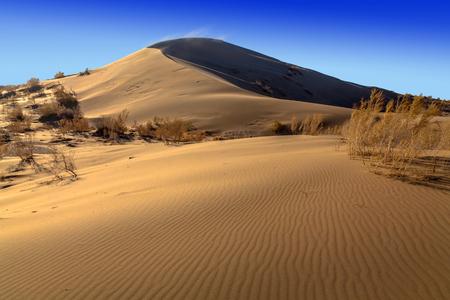 The golden dunes of the Singing Barkhan. National Nature Reserve Altyn-Emel, Kazakhstan