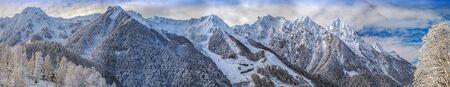 Winter panorama of the mountain massif.
