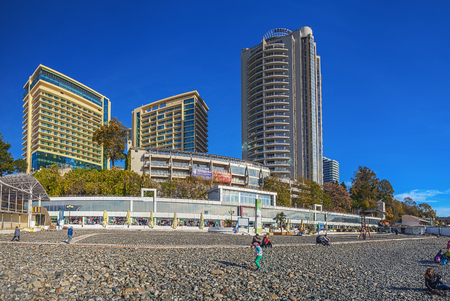 SOCHI RUSSIA - November 21 2015 View of the city from the beach